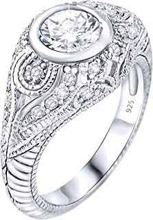 Women's Sterling Silver .925 Cubic Zirconia Engagement Ring, Engraved Design, Vintage Inspired, Platinum Plated Jewelry