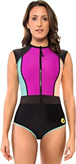 Body Glove Women's Stand Up Cap Sleeve Raglan One Piece Paddle Swimsuit with UPF 50+