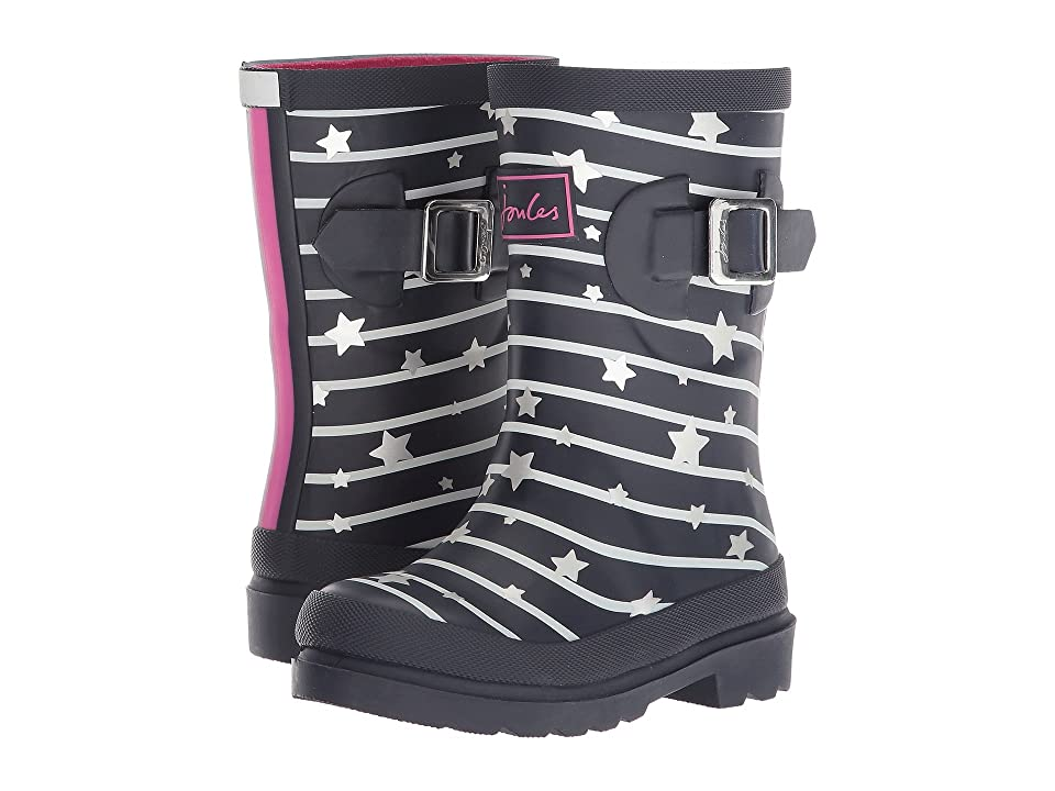 Joules Kids Printed Welly Rain Boot (Toddler/Little Kid/Big Kid) (Navy Star Stripe) Girls Shoes