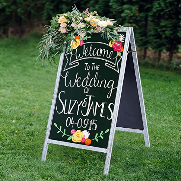 RHF Double Sided Chalk Board Sign Sidewalk Sign Sandwich Chalkboards Rustic Freestanding A Frame Wedding Decoration Non Porous Message Chalkboard Easel Store Display Sign Blackboard 40 White Washed