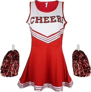 comprar comparacion Traje disfraz de animadora uniforme High School Musical disfraz Con Pompones 6Colores–5tamaños a elegir