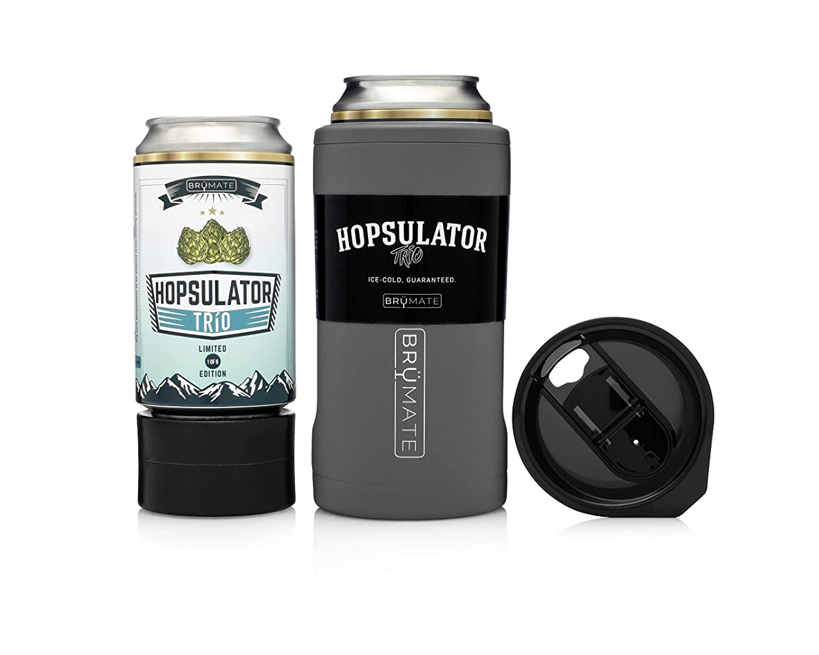 BrüMate HOPSULATOR TRíO 3-in-1 Stainless Steel Insulated Can Cooler, Works With 12 Oz, 16 Oz Cans And As A Pint Glass (Matte Gray)