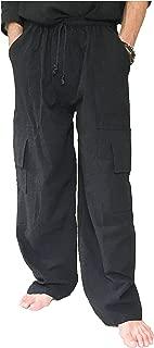 Love Quality Men's 100% Cotton Cargo Pants Plus Size Baggy Pants Drawstring Elastic Waist