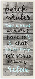 Stupell Industries Porch Rules Rustic Blue Sit Back and Relax Wall Plaque, 7 x 17, Multi-Color