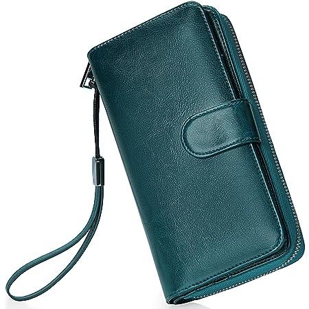 Monederos Mujer Cartera Cuero de Mujer Grande Capacidad Wallet con RFID Bloqueo, Larga Billetera Bolsos con Bolsillo de Cremallera y Correas de Muñeca Azul Eléctrico