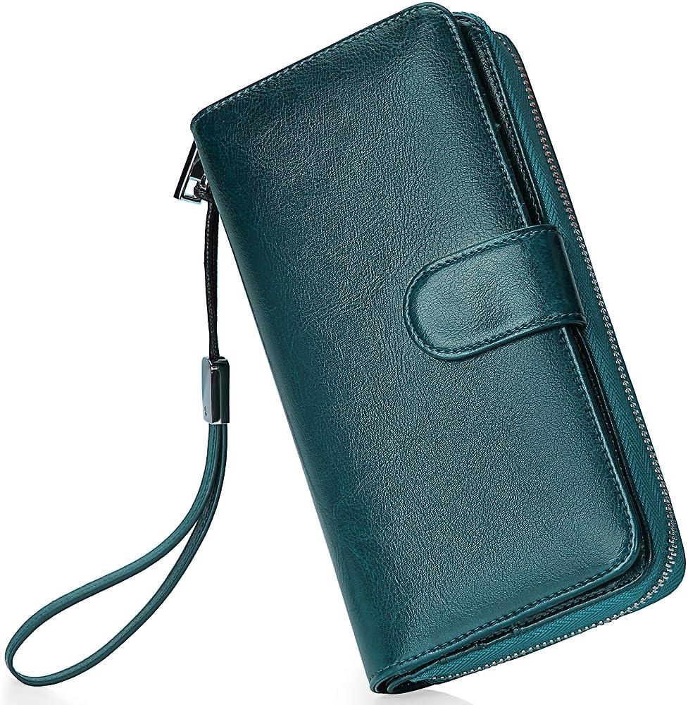 Newhey, portafoglio da donna, porta carte di credito, porta cellulare , in pelle cerata VERDE11