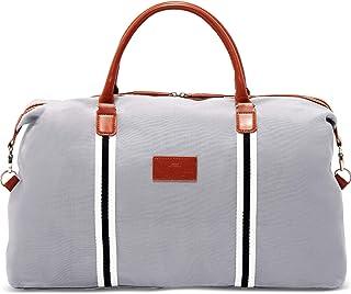 Saint Maniero Design Reisetasche mit extra Laptopfach – recyceltes Material – mehrere Außen- und Innentaschen – wasserabweisend Grau