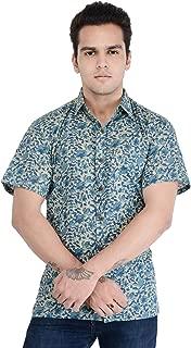 Padmini Negotium Men's Hand Block Jaipuri Print Blue Casual Cotton Regular Fit Half Sleeve Shirt