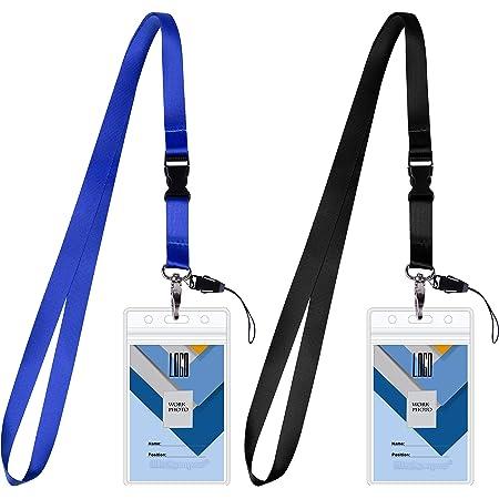 Wisdompro - Lot de 2 porte-badges vertical double face - En PVC transparent - Étanche - Avec fermeture éclair et lanière de cou amovible en polyester résistant de 50,8 cm - Noir/bleu