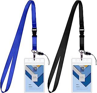 Wisdompro - Lot de 2 porte-badges vertical double face - En PVC transparent - Étanche - Avec fermeture éclair et lanière d...