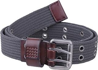 """moonsix Double Hole Grommet Canvas Web Belt for Men Women, Heavy Duty Durable Buckle Two Prong Belt 1.5"""" Wide"""
