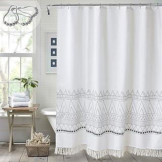 MitoVilla White Boho Shower Curtain with Tassel, Heavy Duty Bohemian Black and White Geometric Chevron Stripe Bathroom Cur...