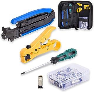 KOTTO Coax Cable Crimper Kit, Compression Tool Coax Cable Crimper Kit, Adjustable RG6 RG59 RG11 75-5 75-7 Coaxial Cable St...