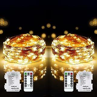 DeepDream 2 x 12 m 120 LED Guirlande Lumineuse à Pile,8 modes fil cuivre étanche IP65 Guirlande Lumineuse avec télécommand...