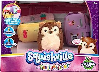 """Squishville by Squishmallows Mini Plush Room Accessory Set, Kitchen, 2"""" Soft Mini-Squishmallow and 2 Plush Accessories, Ma..."""