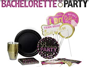 Bachelorette Party Pack! Disposable Paper Plates, Banner Kit, Photo Prop Cutouts, Napkins and Cups Set for 15 (With free extras)