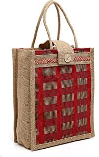 Asian Eco-Friendly Jute Bag-Reusable Tiffin Shopping Grocery Multipurpose Hand Bag with Zip & Handle for Men and Women(Pac...