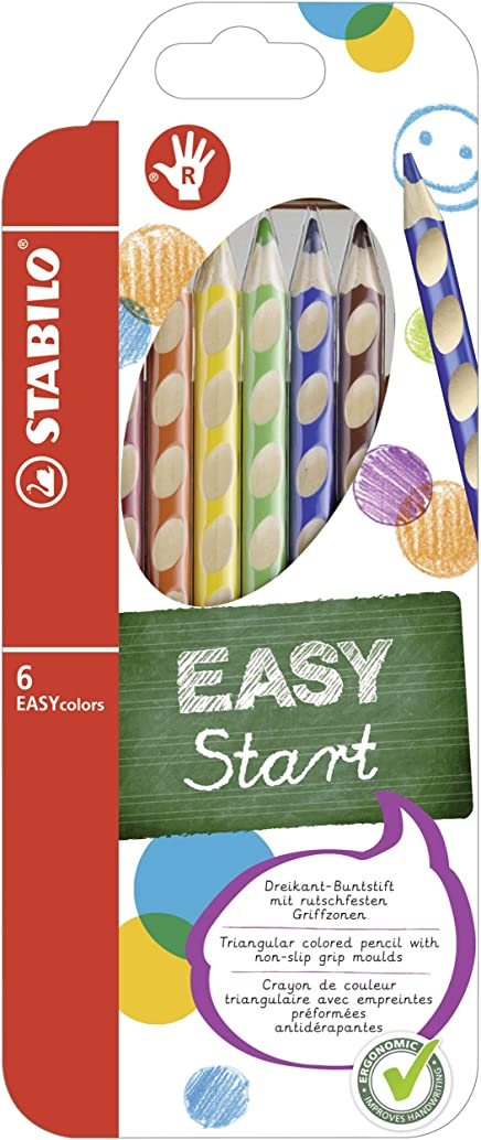 Stabilo EASYcolors, Wallet of 6 Assorted Colouring Pencils for Right-Handers