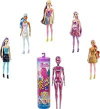 Barbie Color Reveal poupée avec 7 éléments mystère, série Paillettes, 4 sachets surprise, modèle aléatoire, jouet pour enfant, GTR93