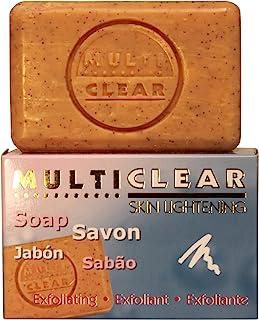 Jabón exfoliante aclarador. MULTICLEAR - 100g. Antimanchas y Antiacne. Con semilla de Melocotón. Combate puntos negros y c...