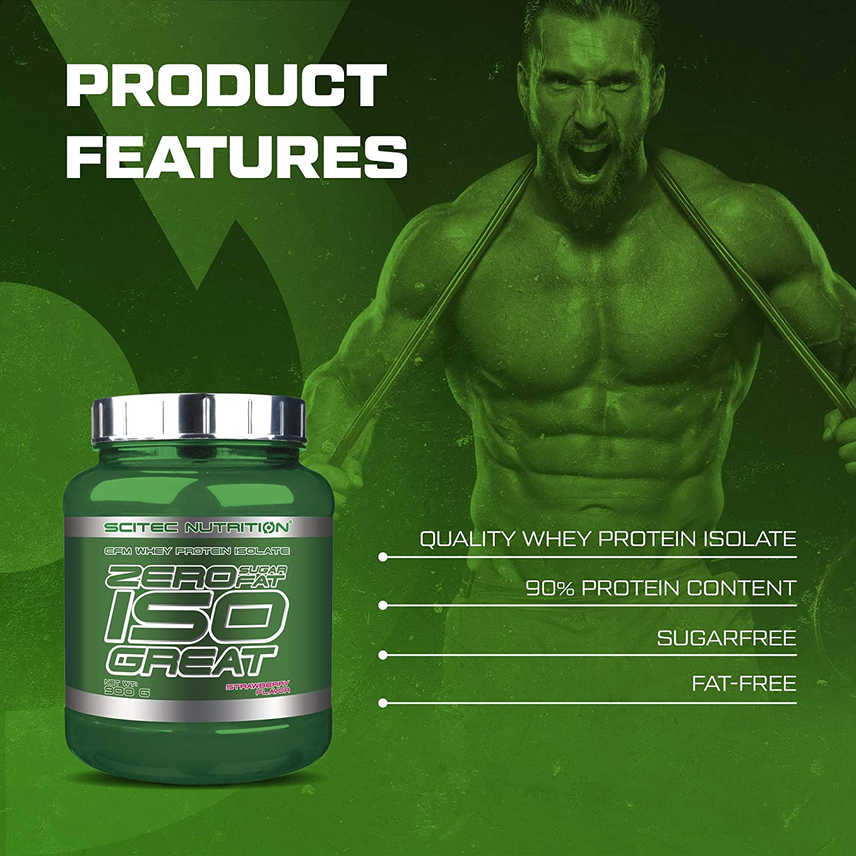Scitec Nutrition Zero Isogreat, zero sugar/zero fat, aislado de proteína de suero, 900 g, Fresa