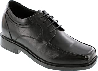 CALTO Men's Invisible Height Increasing Elevator Shoes - Black Premium Leather Lace-up Casual Oxfords - 3.3 Inches Taller - T5275