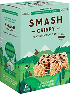 Mint Chocolate Chip Rice Crispy by SMASHMALLOW | Non GMO | Gluten free | 6 Count
