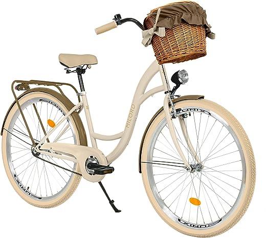 Milord. 28 Zoll 3-Gang Creme-braun Komfort Fahrrad mit Korb und Rückenträger, Hollandrad, Damenfahrrad, Citybike, Cityrad, Retro, Vintage
