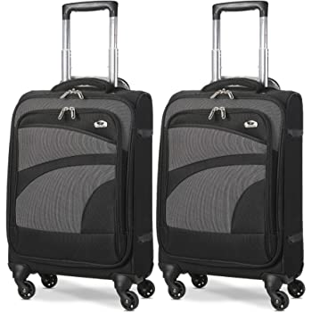 "Aerolite 21"" 55cm Ultra Lightweight 4 Wheel Spinner Carry On Cabin Hand Luggage Suitcase Travel Trolley Flight Bag Case (Black/Grey, Set of 2)"
