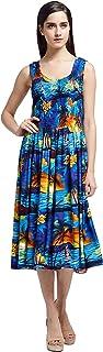 فستان هاواي للنساء بدون أكمام مطاطي بنمط غروب الشمس
