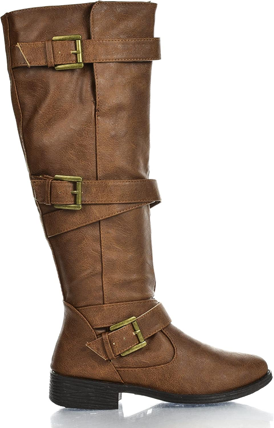 Bamboo Womens Jagger-06A Strappy Max 76% OFF Knee High Zip Faux Riding Up Ranking TOP19 Wo