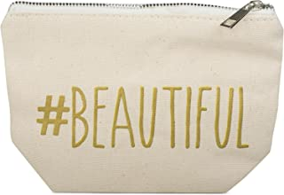 styleBREAKER Statement Beautybag #Beautiful Aufdruck, Kosmetiktasche, Make Up Bag, Tasche, Damen 02013008, Farbe::Creme-Beige
