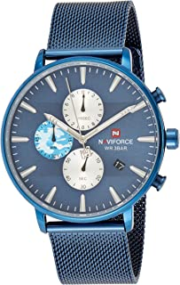 Naviforce Men's Blue Dial Stainless Steel Mesh Analogue Classic Watch - NF9169-BEBE