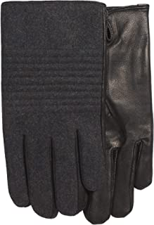 Calvin Klein Men`s Wool Blend Lined Leather Touchscreen Gloves