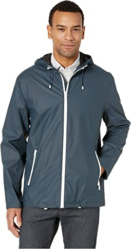 Hooded Button Front Rain Jacket