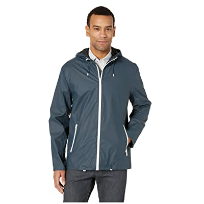 Cole Haan Hooded Button Front Rain Jacket (Navy) Men