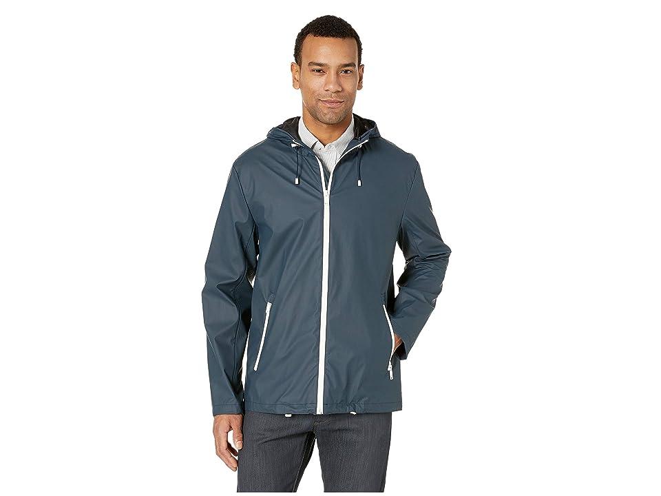 Cole Haan Hooded Button Front Rain Jacket (Navy) Men
