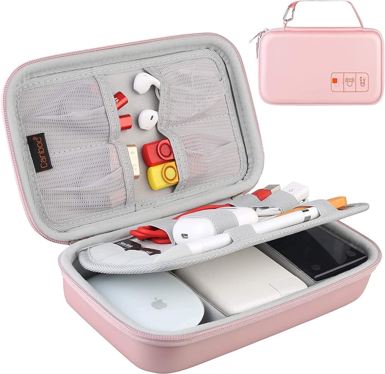 Hard Electronic Organizer Travel Case Electronics Accessories Cable Gadget Wire Storage Bag Double Layer Shockproof Box for Charger, Cord, Flash Drive, Apple Pencil, Power Bank, Rose Gold