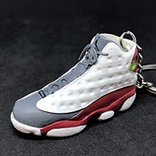 Air Jordan XIII 13 Retro Cement Grey Toe White Red OG Sneakers Shoes 3D Keychain Figure