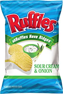 Ruffles Potato Chips, Sour Cream and Onion, 8.5 Ounce (Pack of 4)