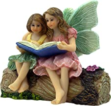 PRETMANNS Fairy Garden Fairies - Fairy Figurines - 2 Adorable Fairies Sitting on a Stump Reading a Book - Storytime Fairie...