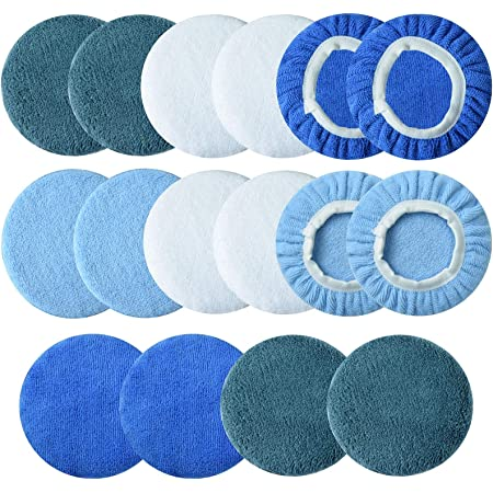Awpeye 10Pack Car Polisher Pad Bonnet 5 to 6 Inches Soft Microfiber Polishing Bonnet Buffing Pad Cover