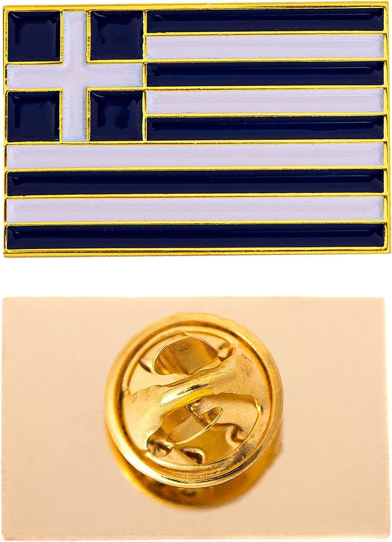 Desert Cactus Greece Country Flag Lapel Enamel Made of Metal Souvenir Hat Men Women Patriotic (Rectangle Pin)