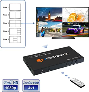 J-Tech Digital HDMI 4x1 1080P Quad Multi-Viewer Seamless Switcher with 5 Different Display Modes and IR Remote Control JTD-P8 Control (JTECH-MV41)