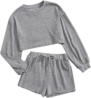 Romwe Girl's 2 Piece Outfit Ribbed Long Sleeve Tops and Shorts Clothing Set Loungewear