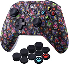 YoRHa Printing Rubber Silicone Cover Skin Case for Xbox One S/X Controller x 1(Madeup Skulls II) with Thumb Grips x 10