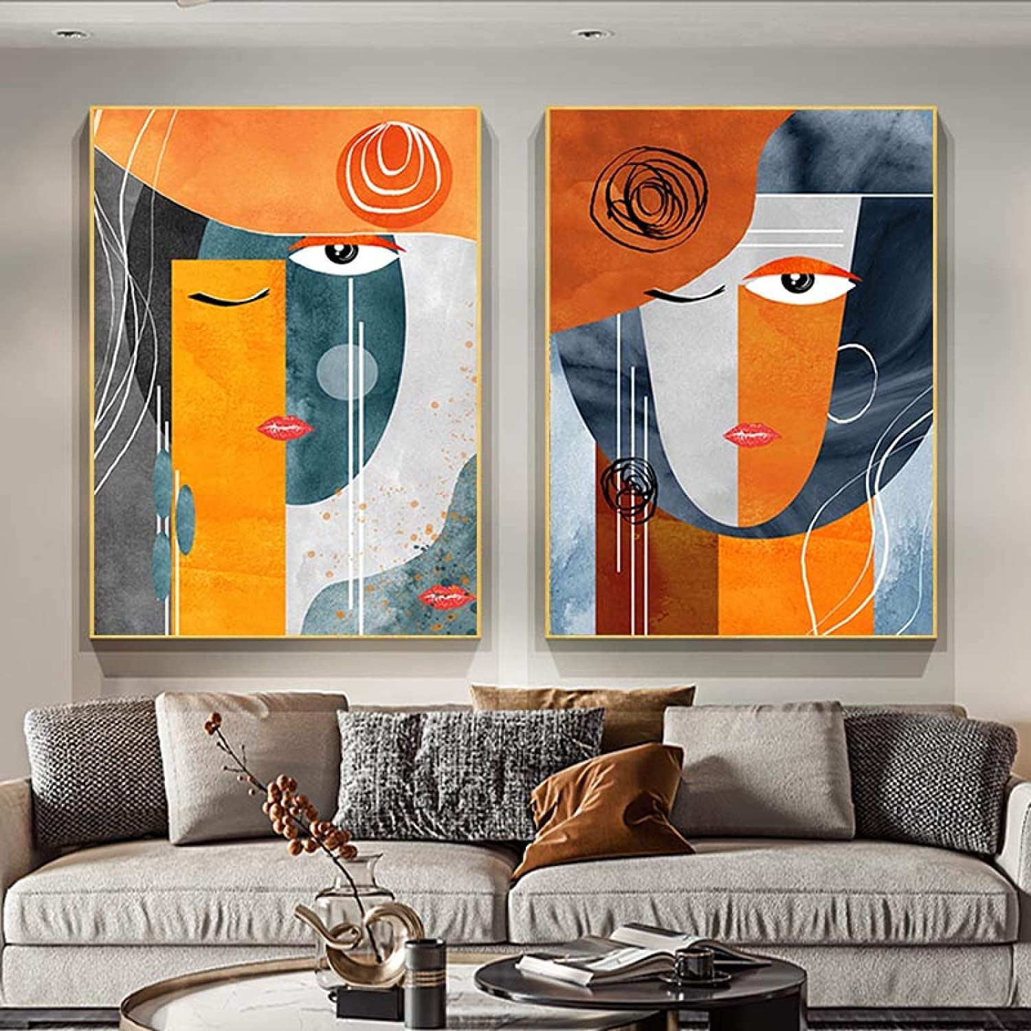 Modern Austin Mall Abstract Faces Max 80% OFF Geometric Painting Canvas Wal Contemporary