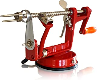 CAST IRON APPLE PEELER by Purelite Durable Heavy Duty Cast Iron Apple Slicing Coring and Peeling Machine Razor Sharp Stainless Steel Blades and Chrome Plated Parts