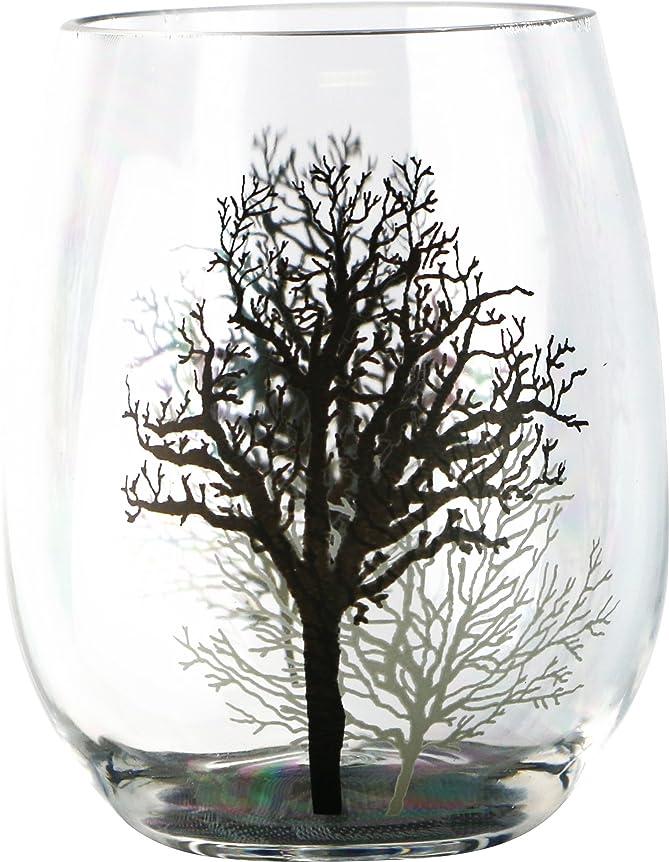 マオリピット驚きCorelle Coordinates by Reston Lloyd Acrylic Stemless Wine Glasses, Set of 4, Timber Shadows, 470ml, Clear