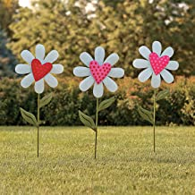 Fun Express - Heart Shaped Flower Yard Stakes S/3 for Valentine's Day - Home Decor - Outdoor - Yard Art - Valentine's Day - 3 Pieces